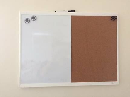 Magnetic Whiteboard & Cork Board ( with magnets and pins)