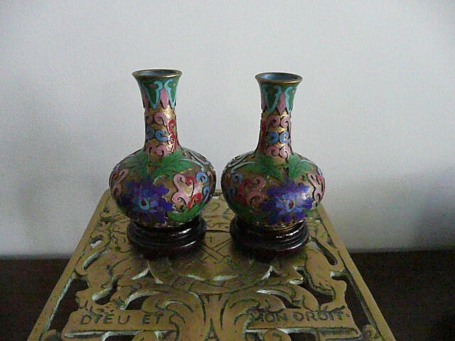 Champleve Cloisonne Antique Vases, Beautiful Perfect Pair