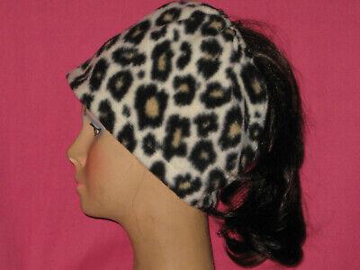 Fleece Leopard Hat (Handmade - Fleece - Messy Bun Hat - Leopard print - One Size )