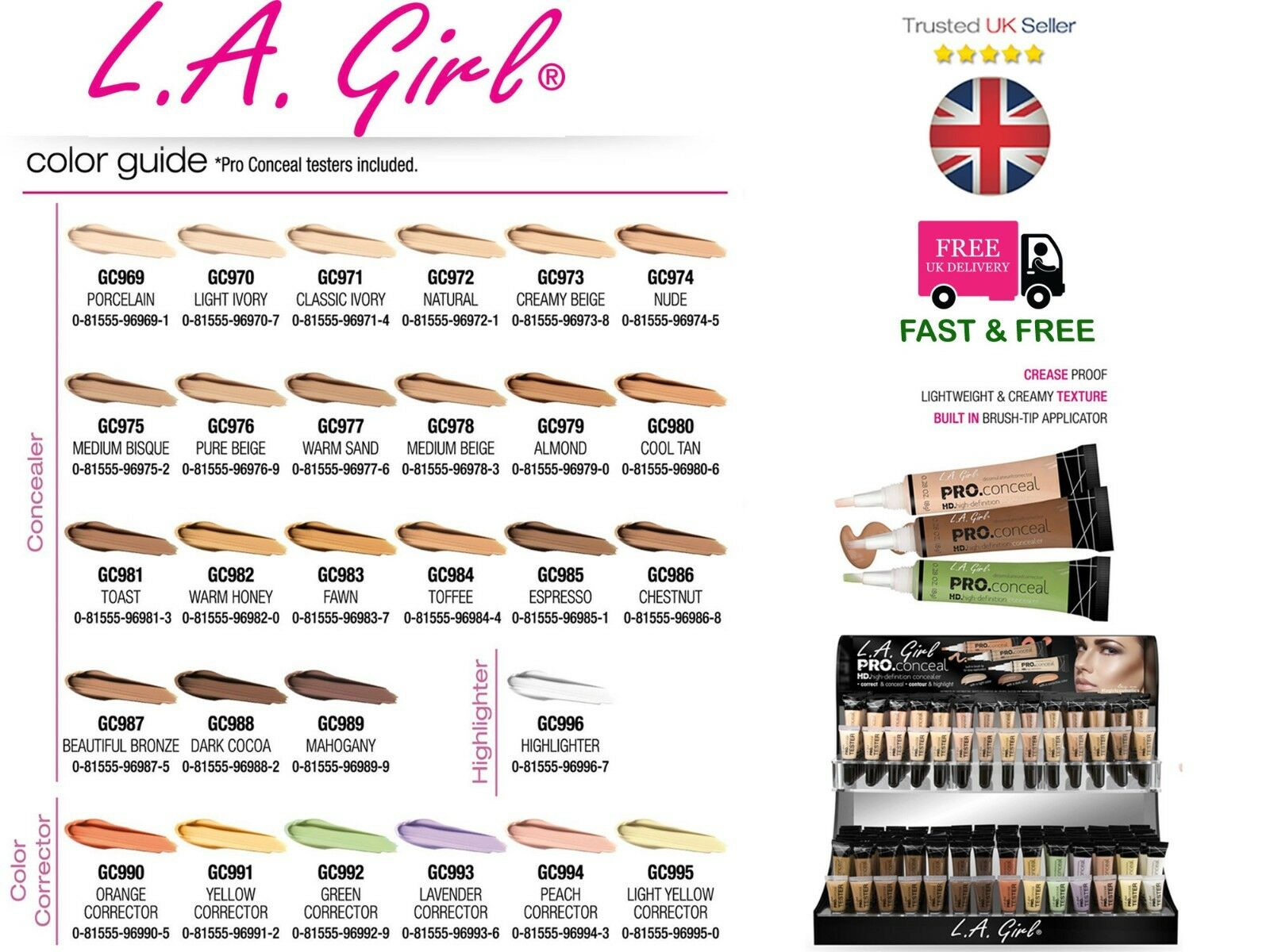LA GIRL PRO CONCEALER -100% AUTHENTIC- UK SELLER- 28 SHADES-*** UP TO 10% OFF