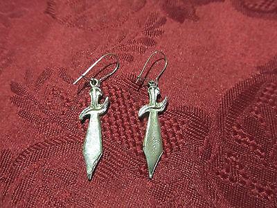 Pierced Silver Dagger Earring Pair Post (Piercing Dagger)