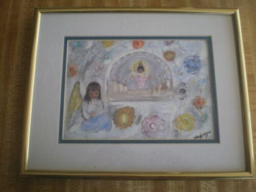 """Framed DeGrazia Print """"Little Guardian Angel"""" 8 x 10"""", Brass & Glass, Tucson AZ"""