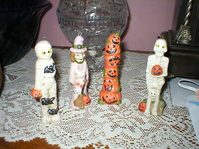 Lot of 4 Vintage Ceramic Halloween Statues/Tree Ornaments, Witch, Mummy, Pumpkin