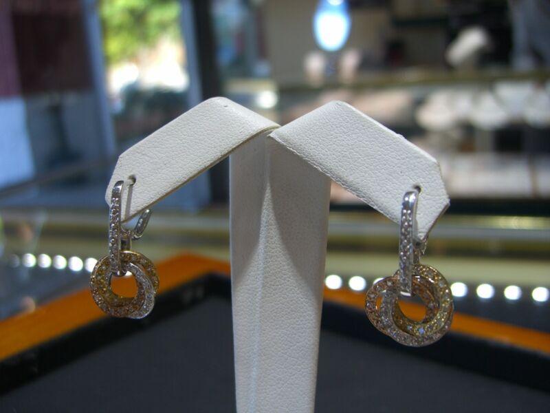 Fine Womens Three Tone Earrings 14 Karat  Diamond 1.00 Carats Circle  New!