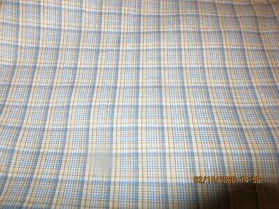 CHARMING GINGHAM PATTERN  OMBRE BLUES SHADES GOLD TAN WHITE PENCIL LINE42