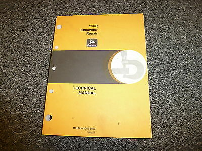 John Deere Model 290d Excavator Shop Service Repair Technical Manual Tm1443