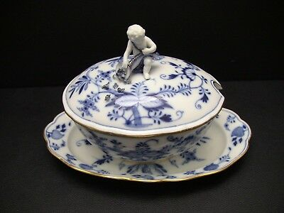 Antique Meissen Blue Onion Mini Tureen w/Attached Underplate Gold Trim - Cherub