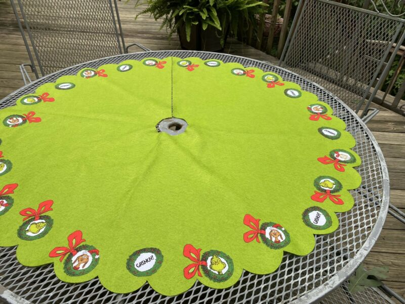 """GRINCH Christmas Tree Skirt 48"""" ..Hand-Crafted"""