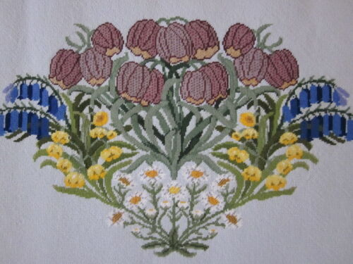 Large Completed Beth Russell Fritillary   needlepoint canvas
