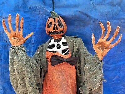 "Vintage Pumpkin Head Jack O Lantern Evil Ghoul Ghost Halloween Hanging Prop 36"""