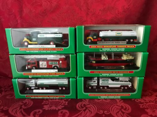 SET-(6) HESS MINI TRUCKS 1998, 99, 00, 01, 02, & 04 DIRECT FROM THE FACTORY CASE