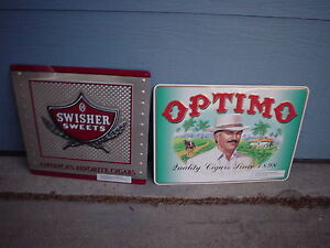 LOT-OF-2-LARGE-OPTIMO-SWISHER-SWEETS-AMERICAS-FAVORITE-CIGARS-METAL-SIGN