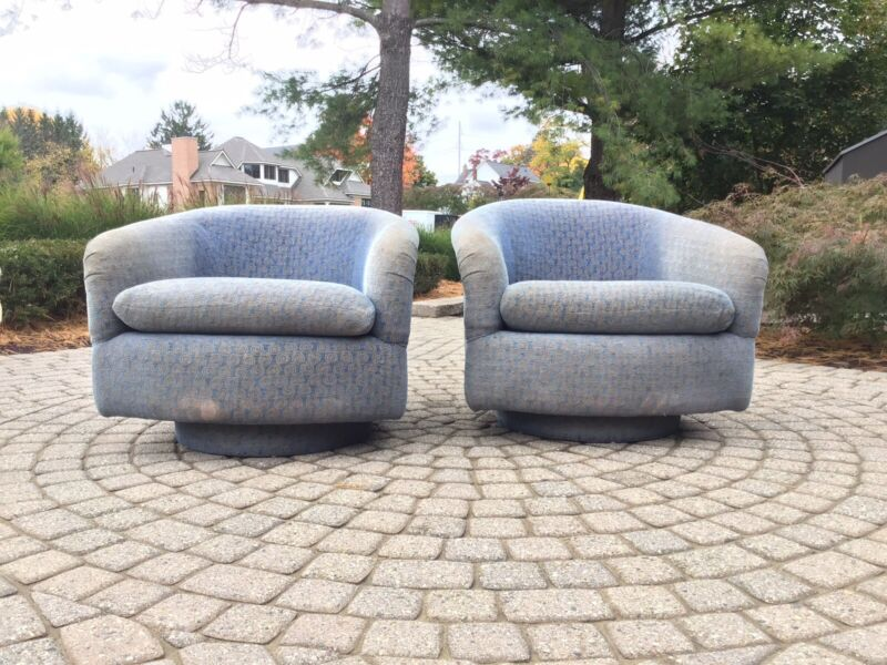 Pair Of Milo Baughman Style Swivel Lounge Chairs