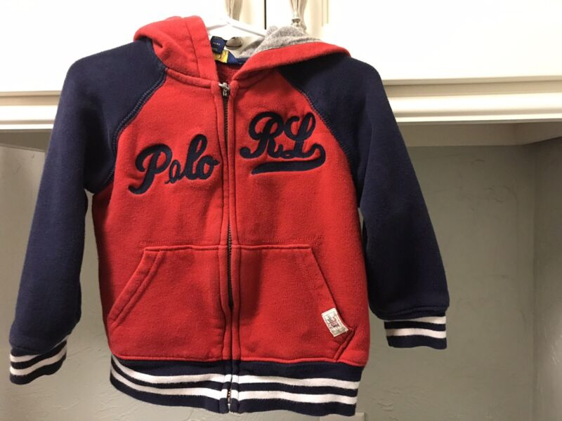 Ralph Lauren Polo Sweatshirt Hoodie Boys Sz 2/2T Red/Blue/White VGUC
