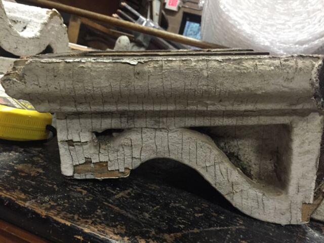 "GREAT pair dentil style VICTORIAN corbel brackets CRUSTY white paint 11"" X 9 X 7"