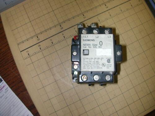 SIEMENS SXL BO MAGNETIC CONTACTOR NEMA SIZE 0 18AMP 600VAC