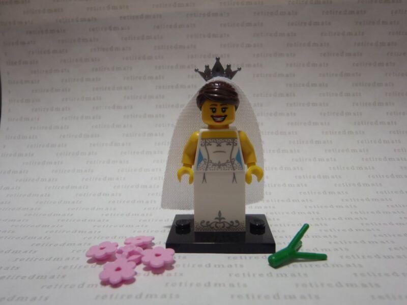 LEGO 8831 Minifigure Series 7 BRIDE Wedding Girl Dress Flower Crown Veil Minifig