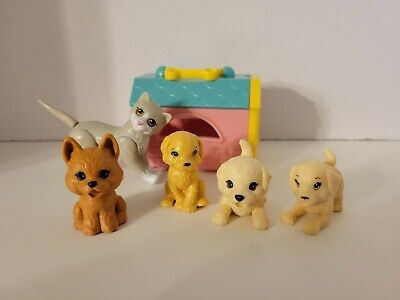 Barbie Pet Puppy, Dog and Cat. Lot of 5 pets Mattel and pet carrier Disney