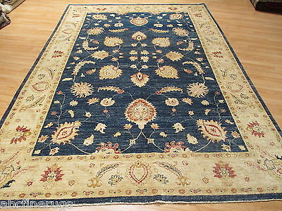7x10 Super Museum Vegetable Dye Allover-Pattern Handmade-knotted Wool Rug 582128
