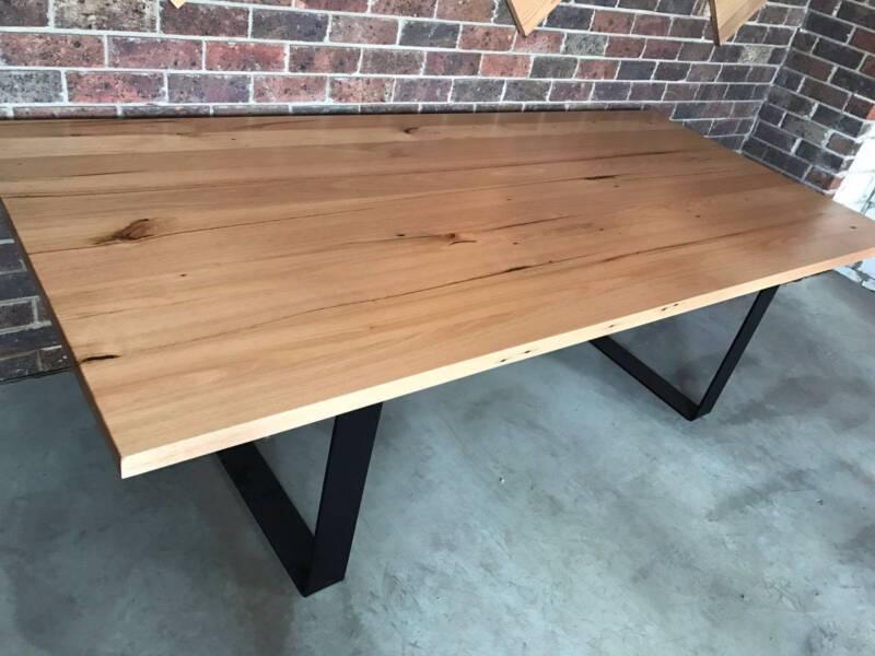 Recycled Vic Ash Timber Dining Table Black Metal Loop Legs