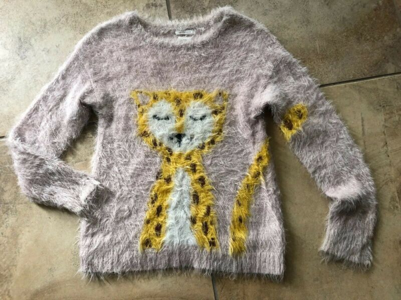 Zara Girls  9/10 Pink Cheetah Fuzz Long Sleeve Pullover Sweater