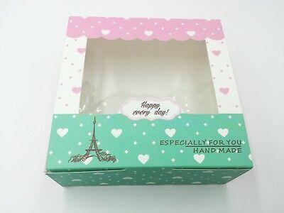 Cute Bakery Box | for Cookie/Cupcake Gift Party | Pink Green Eiffel Tower | 12ct - Green Party Box