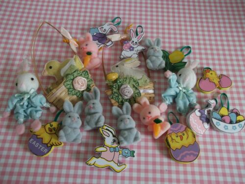18 Vtg.  EASTER  ornaments~ sweetly decorated baskets,fuzzy bunnies,decorations