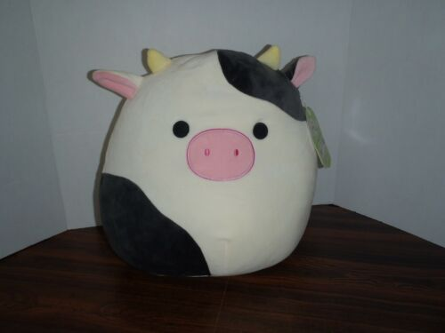"""Squishmallow Connor The Cow 12"""" Plush Pillow Toy by Kellytoy  NEW TAGS"""