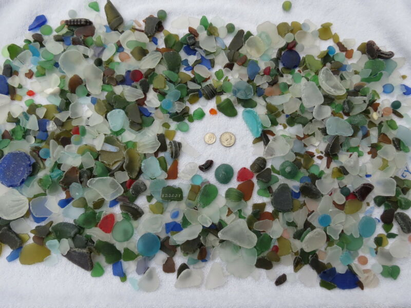 20 POUNDS MACHINE MADE RECYCLED TUMBLED BEACH SEA GLASS 1/2 - 3 INCH DECORATION