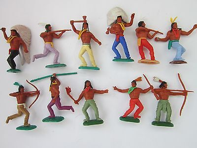 1970's timpo 12 wild west indians figures