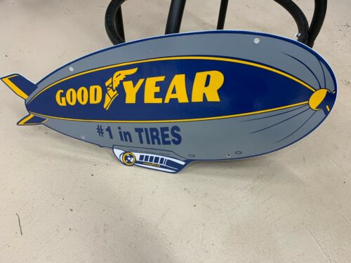 """""""GOODYEAR BLIMP"""" PORCELAIN SIGN, (DATED 1962) NEAR MINT CONDITION 24.5""""x11.5"""""""