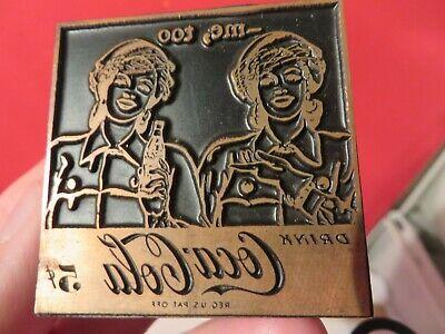 Vintage Wood Metal Printing Press Block Stamp Ink Plate Coca-cola Free Ship