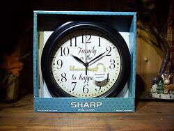 SHARP WALL CLOCK FAMILY IS THE KEY TO HAPPINESS 9.25 INCH X 9.25 INCH HOME DECOR