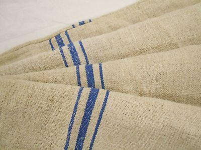 Vtg Antique BLUE STRIPE HEMP LINEN Upholstery Fabric FEED SACK GRAIN BAG 22x44