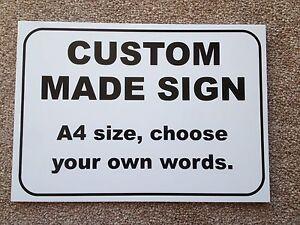 Custom made Plastic Sign - Black Text