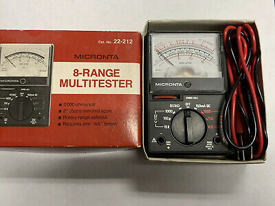 Micronta 8 Range Multitester Vom Multimeter 2000ohms 22-212 Original Box