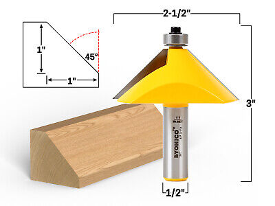 45 Degree Chamfer Edge Forming Router Bit - 12 Shank - Yonico 13917