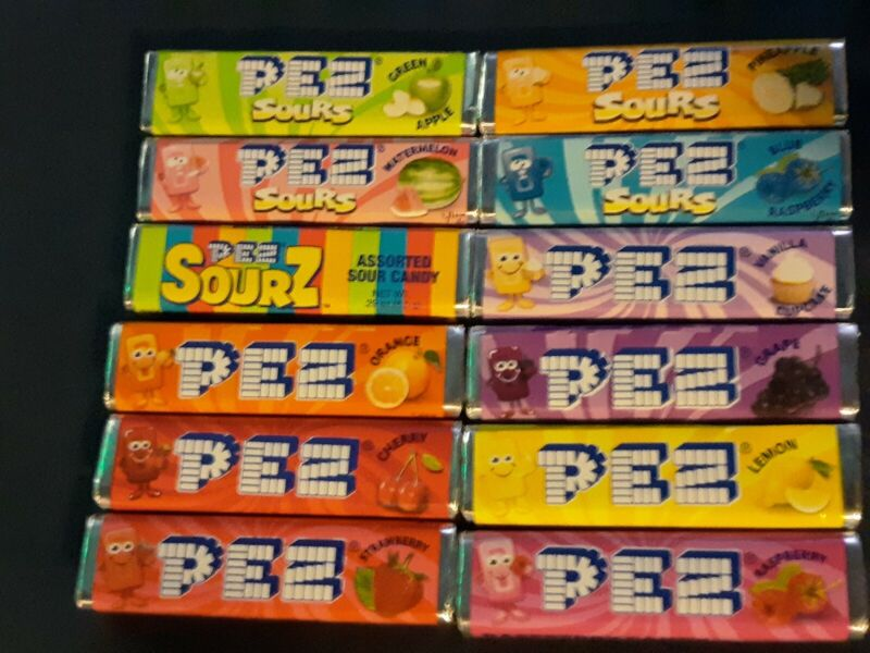 12 PACKS PEZ CANDY REFILLS - ALL DIFFERENT FLAVORS!