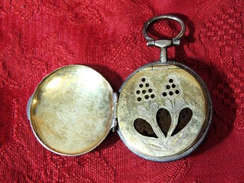 Antique 1700-1800s Victorian VINAIGRETTE Pendant Silver Pocket Watch-Form Floral