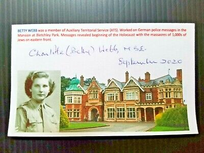 BLETCHLEY CODE BREAKERS BRITAIN BETTY WEBB WW2 AUTOGRAPHED 3X5 INDEX CARD
