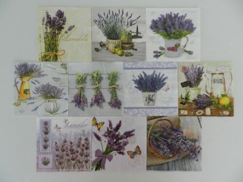 10 (Ten) Assorted Single Lunch Paper Napkins for Decoupage Lavender de Provence