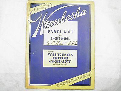 Waukesha 6 Gal Gak Series Engine Parts List