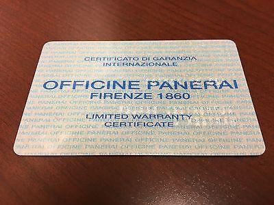 ~Very Rare~ Vintage Officine Panerai Firenze 1860 Warranty Card Stamped