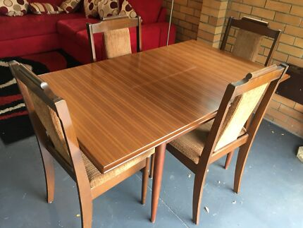 Solid extendable wooden table plus 4 chairs