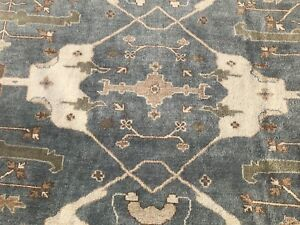 8x10 BLUE HAND KNOTTED RUG OUSHAK WOOL USHAK RUGS green persian oriental 8x11 ft