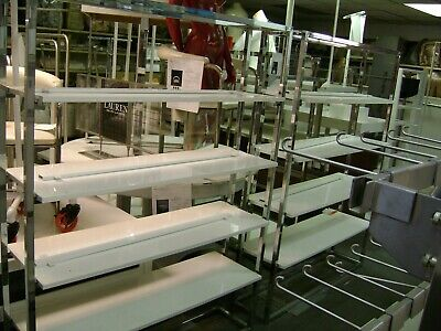 Retail White  Chrome Metal Display Shelving Units Set 2