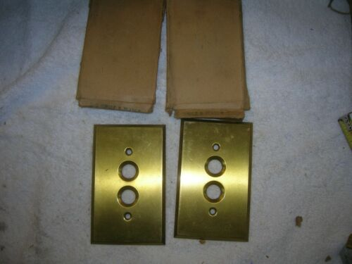 2 solid brass push botton switch plate covers are new old stock