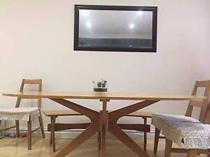 White Oak Veneer Dining Table & Two Benches (chairs Not Included) Botany Botany Bay Area Preview