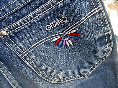 Sz 14 26x28 true Vtg 80s Girls DISCO POCKET FLARE GITANO DENIM FASHION JEANS