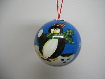 Black White Whimsical Penguin Inside Painted Glass XMas Ornament in Red Box NIB